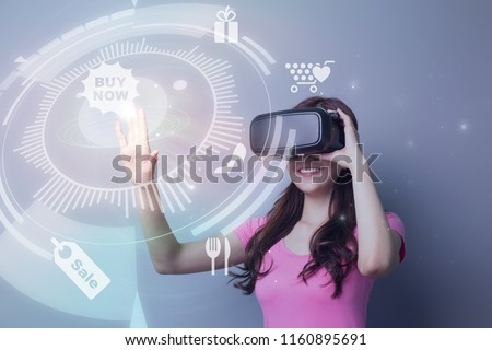0999be606a smile asian beauty girl shopping online by VR headset glasses of virtual  reality