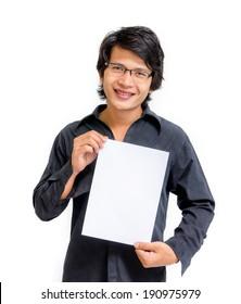 Smile asian man showing blank paper