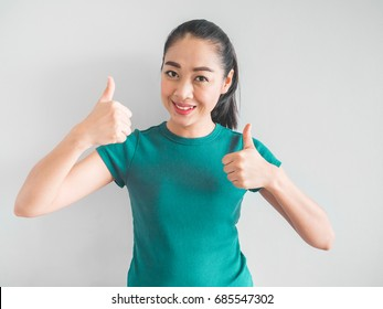 Smile Asian woman face feeling happy and impress.