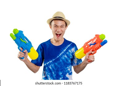 Smile boy happy with Songkran water gun Thai person, isolated on white background.