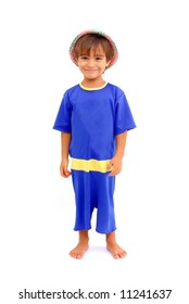 Smile Boy with a straw hat and blue clothes .