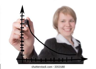 smile businesswoman draw blavk graph