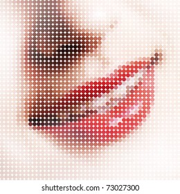Smile, composed of small pixels. Stylize Pop-Art