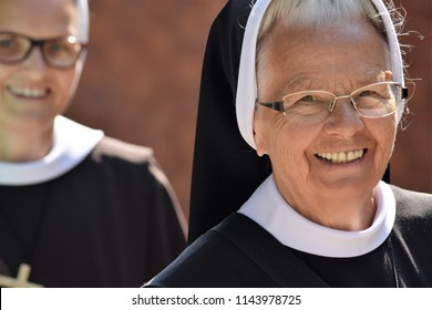 smile elderly nun in traditional clothes editorial, Prague, Czech Republic, July, 2018