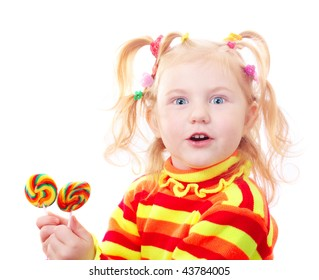 smile girl with candy isolated o white