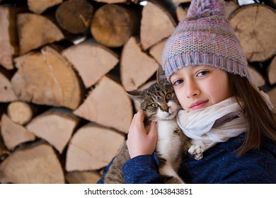 Smile girl with a cute cat