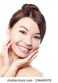Smile happy Face of beautiful woman with health teeth and skin care isolated over white background. Beautiful young asian woman model
