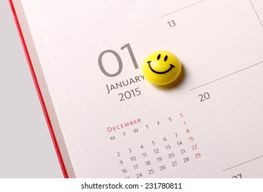 Smile icon on the diary at 1st January 2015