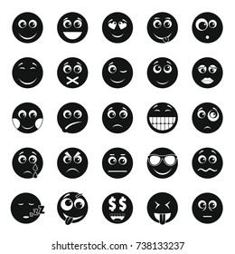 Smile icon set. Simple illustration of 50 smile  icons for web