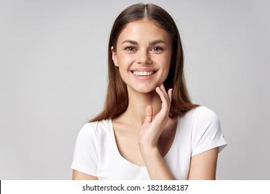 Lächeln nach vorn Hand in der Nähe
