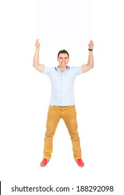 smile man hold blank board, handsome guy casual wear shirt, full length isolated over white background