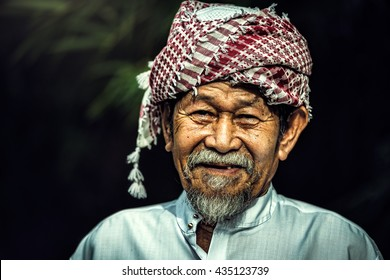 Smile of Old man muslim asian