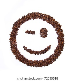 Smile shaped coffee beans isolated on white background