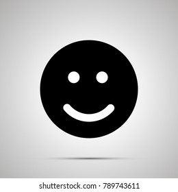 Smile silhouette, simple black happy face icon with shadow