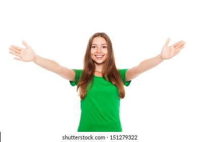 smile teenage excited girl raised up palms arms hands at you, isolated over white background concept of freedom happy student, young pretty woman asking us to come up hug