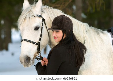 smile woman and white horse