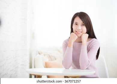 smile young woman relax sit at home, healthy lifestyle concept, asian beauty, asian beauty