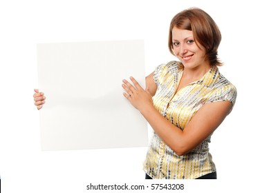 Smiled girl with blank board