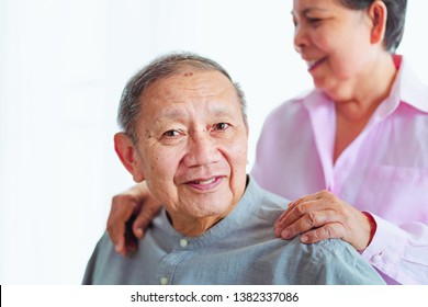 smiled senior asian couples support each other, selective focus