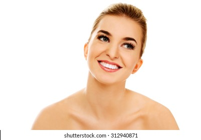 Smiled young naked woman, isolated on white.