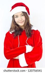 Smiley Asian woman in Santa cloth.