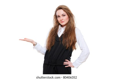 smiley businesswoman holding something on her palm over white background