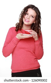 Smiley curly brunette hair woman holding coffee cup