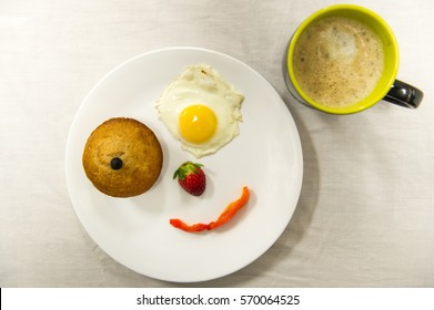 Smiley face food and coffee.