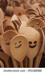 Smiley Face on a Wooden Spoon