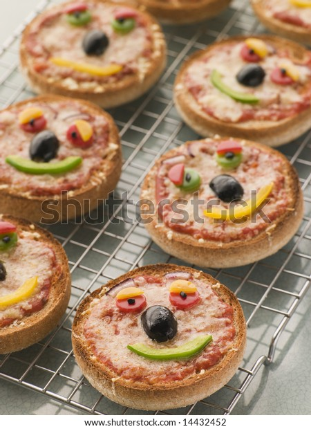 Smiley Faced Pizza Muffins