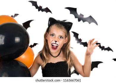 Sugar Skull Little Girl Halloween Costume Stock Photo Edit Now - Cat-costume-makeup