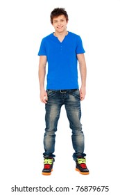 smiley guy in blue t-shirt and jeans. isolated on white background