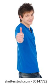smiley guy showing thumbs up. isolated on white background
