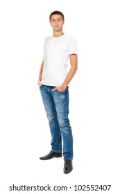 smiley guy in white t-shirt and jeans. isolated on white background