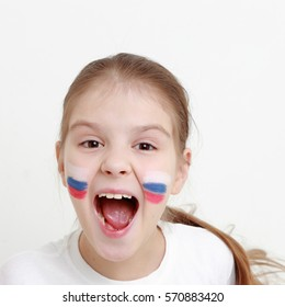 Smiley happy little girl with Russian flag symbol