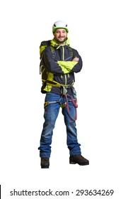 smiley hiker in helmet and full equipment. isolated on white background