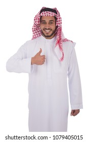 Smiley khaleeji man standing thumbs up isolated on a white background.
