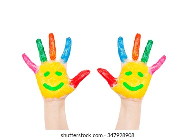 Smiley on hands. Symbol friends, joy and fun concept. Isolated on white background.