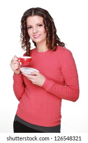 Smiley positive thinking young woman holding red coffee cup on Food and Drink theme/Portrait of smiley caucasian teenage girl holding coffee cup