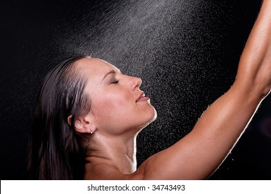 smiley woman taking the shower
