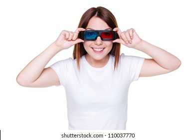 smiley young woman looking through stereo glasses. studio shot over white background