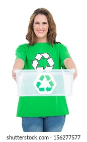 Smiling activist holding recycling box against white background