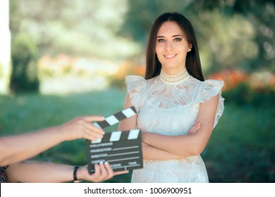 Smiling  Actress Auditioning for Movie Film Video Casting. Woman reading her part on a microphone for a role