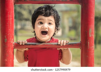 Smiling adorable two year old Indian baby making funny faces, playing at kid play ground looking at camera and climbing up iron ladder.  Sunny day