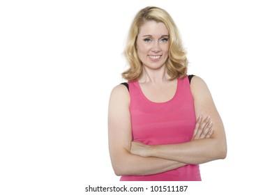 Smiling adult female fitness model