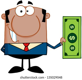 Smiling African American Business Man Holding A Dollar Bill. Raster Illustration.Vector Version Also Available In Portfolio.