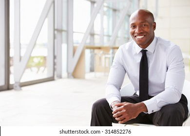 Smiling African American businessman, horizontal portrait