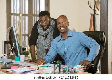 Smiling African American creative business team