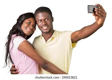 Smiling, African Descent, Heterosexual Couple.