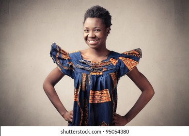Smiling african woman in traditional dress